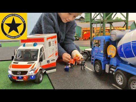 BRUDER CEMENT MIXER👍 bad luck POLICE Bruder Trucks 🚔 🚑 BRUDER TOY KID VIDEOS