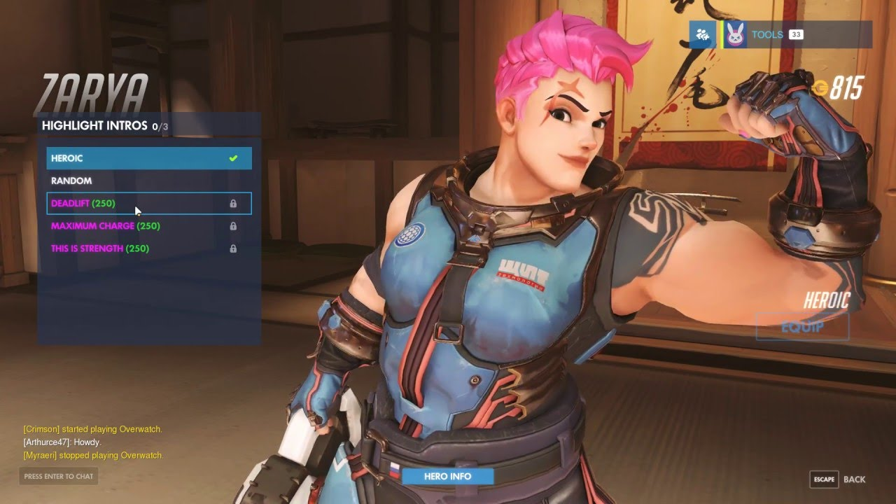 Overwatch Zarya skins, emotes, poses and intros - YouTube