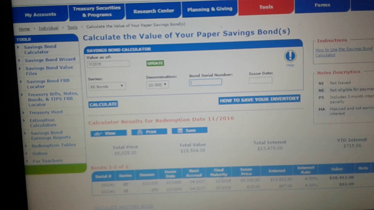 Finding Your Treasury Direct Bond On The Calculator Youtube