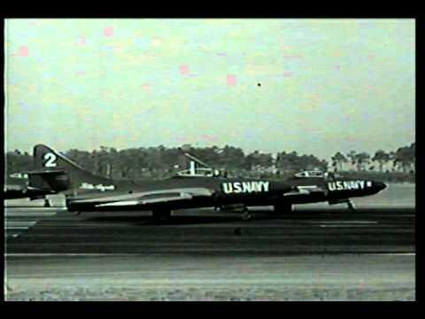 Blue Angels circa 1956-7 flying Grumman F9F-8 Cougars