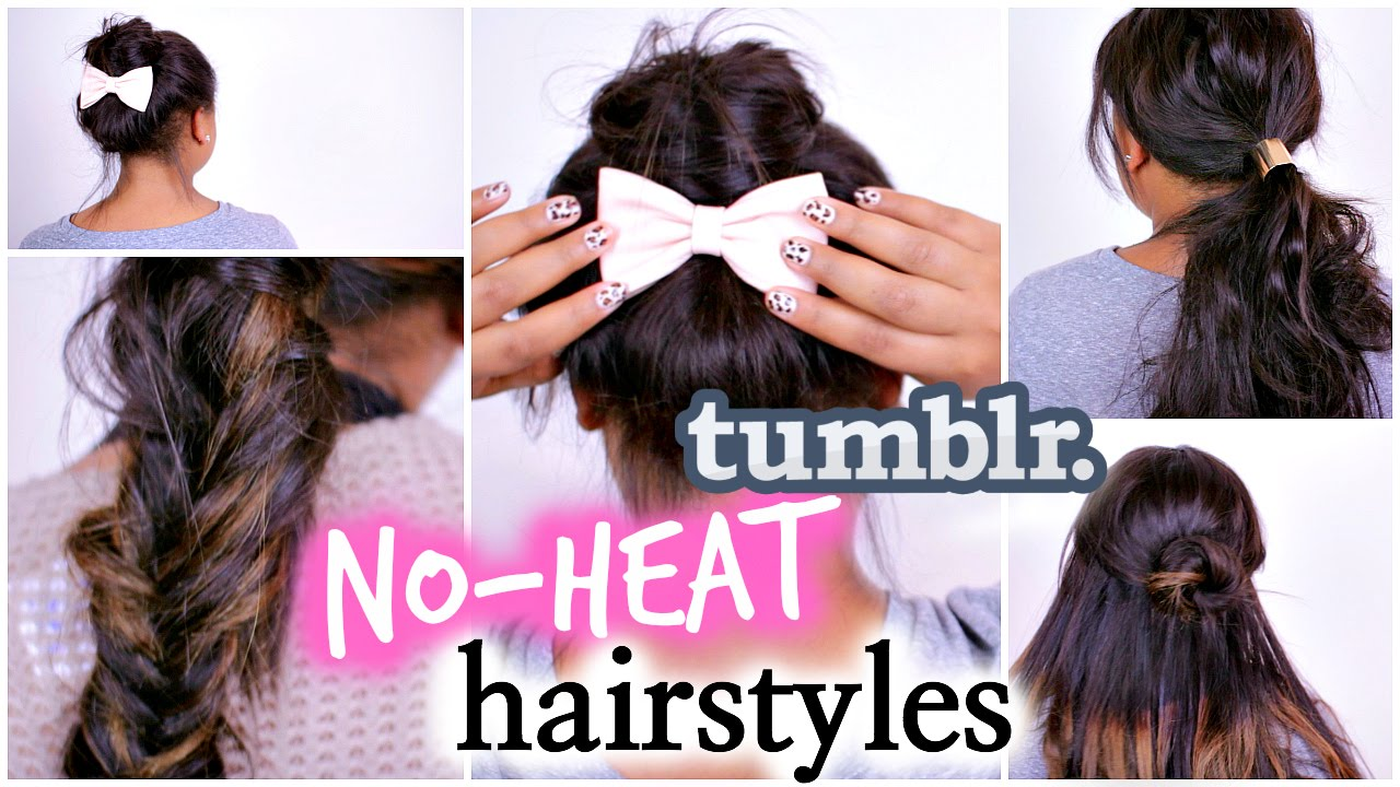 4 Easy NO HEAT Hairstyles Inspired By Tumblr! DIY Tumblr Hair