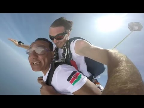 Kenya Minister of Tourism Najib Balala Skydiving