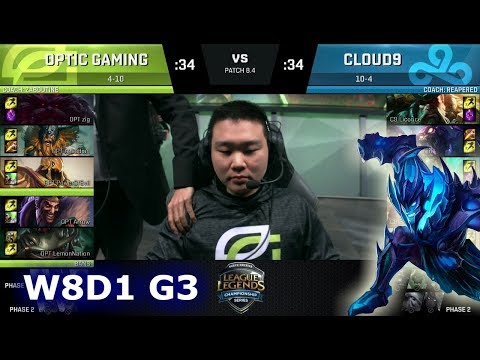 OpTic Gaming vs Cloud 9 | Week 8 Day 1 of S8 NA LCS Spring 2018 | OPT vs C9 W8D1 G3