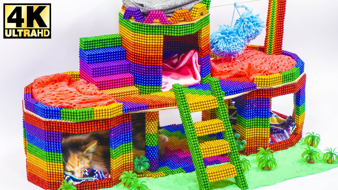 DIY - How To Build Amazing Cat House for Two Beautiful Kittens from Magnetic Balls (Satisfying)