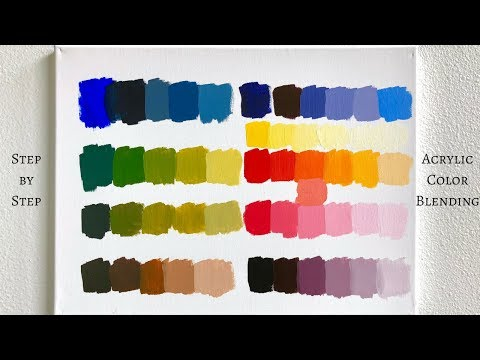 STEP by STEP acrylic color blending tutorial using PRIMARY COLORS ONLY (ColorByFeliks)
