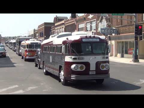 Greyhound Bus Museum 2018 Rally Procession out of Hibbing.