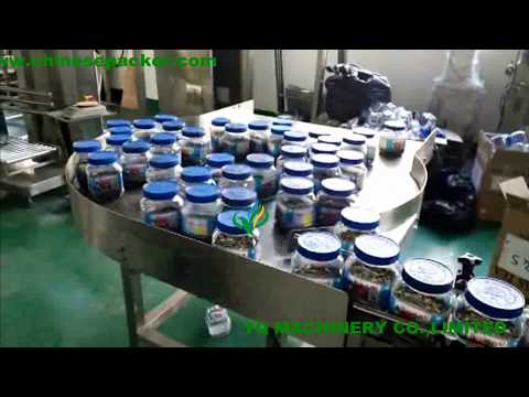 automatic tea plastic jar tin can filling rotary capping labeling machine with lid feeding equipment