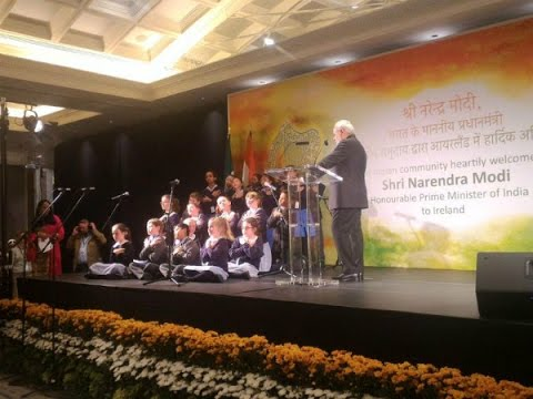 Modi in Ireland: Irish Kids sing Sanskrit Shlokas, PM mocks Secularists