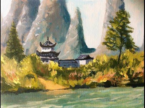 Malen mit Acryl: Chinesische Pagode (Teil 1/2)