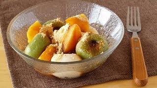 How to Make Kaki and Dango with Kuromitsu (Japanese Persimmon and Sweet Rice Dumplings) 柿と白玉の黒蜜きな粉がけ