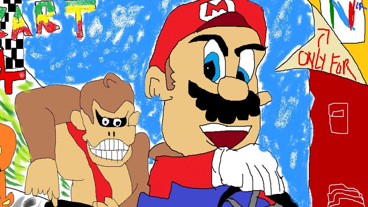 Drawing Mario Kart 64 Box Art Cover Usa Pal Version Akurate
