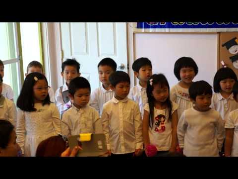 Louis graduation perform, french song (Hello song, 7 days a week, number song)