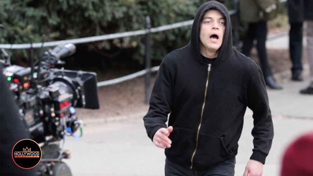 Download Rami Malek Filming 'Mr. Robot' Scene for Final Season in Central Park