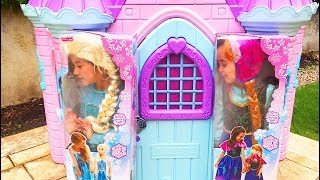 The twins dress up as Princess Elsa and Anna
