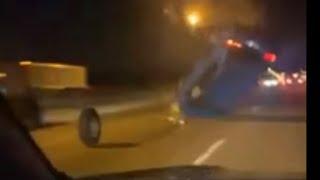 CAR HITS TIRE ON FREEWAY THEN FLIPS *car fails*