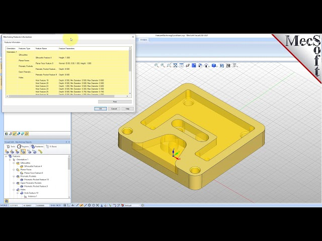 VisualCAD/CAM-2021 Automatic Feature Machining (AFM) Quick Start