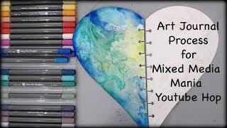 Heart Shaped Art Journal with Marabu Aqua pens for the Mixed Media Mania Youtube Hop