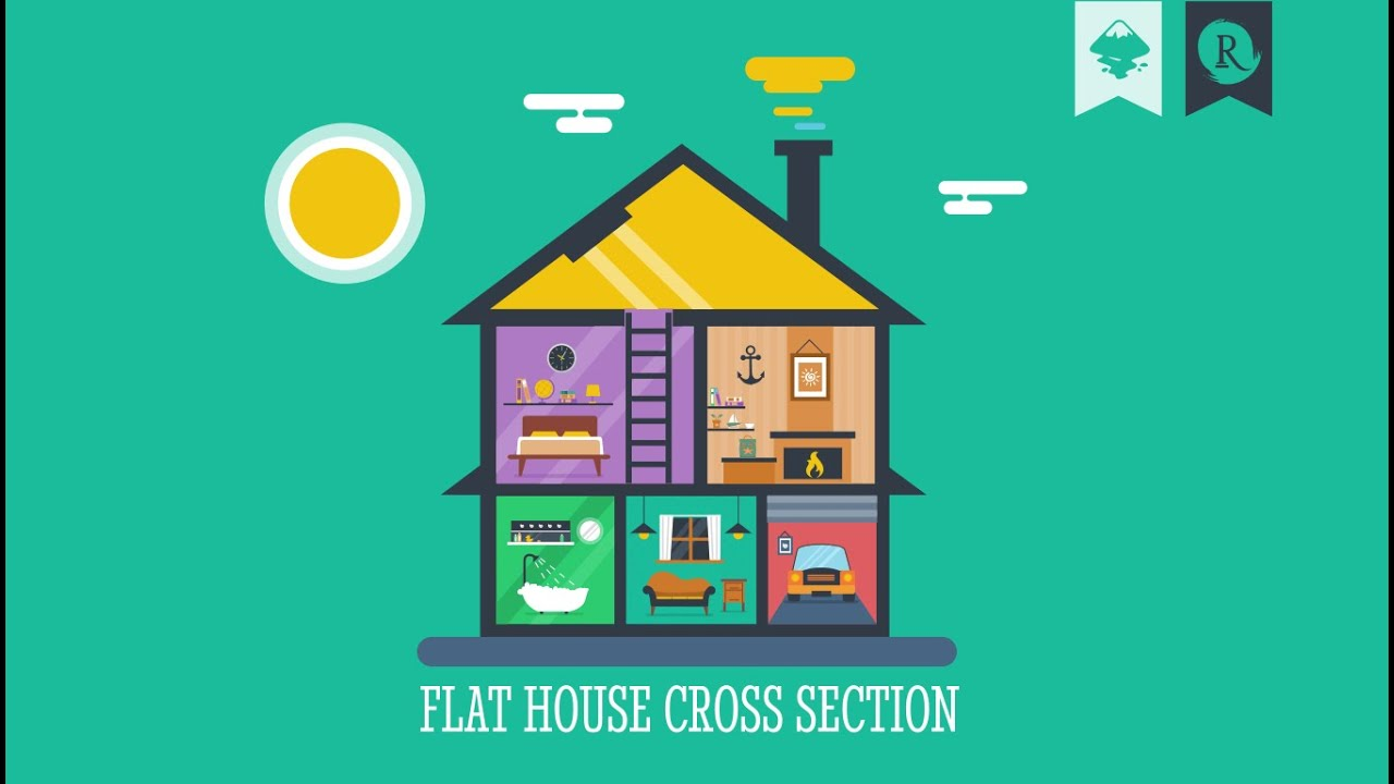 inkscape infographic flat house cross section youtube. Black Bedroom Furniture Sets. Home Design Ideas