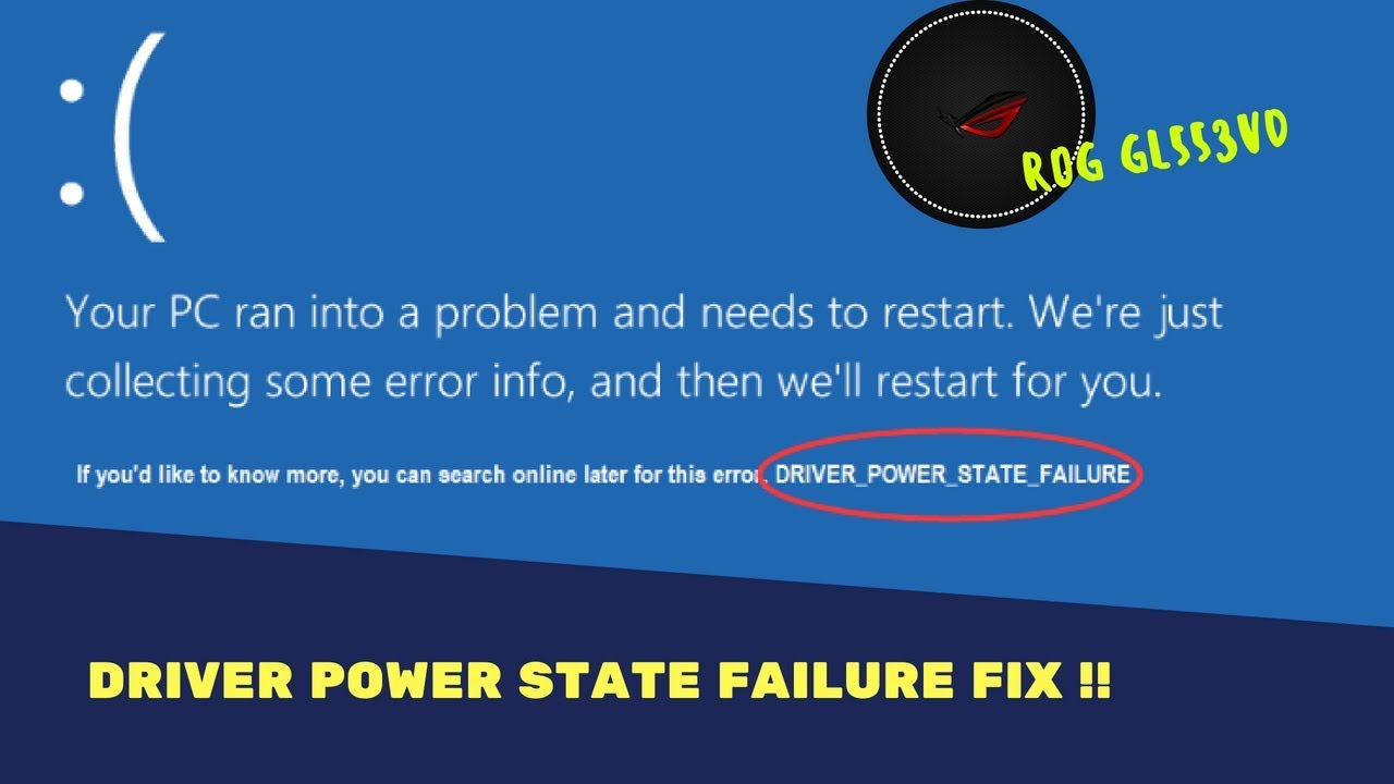 lenovo legion y520 driver power state failure