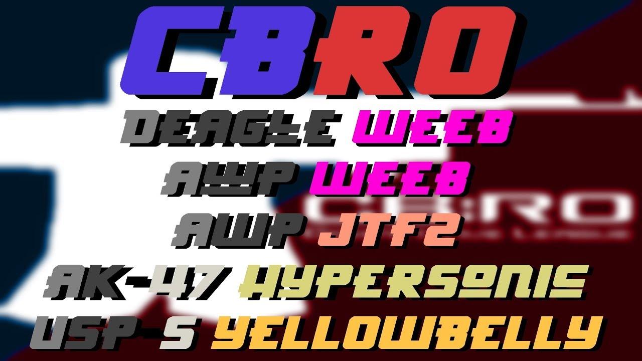CBRO Deagle Weeb, AWP Weeb, AWP JTF2, USP-S Yellowbelly, Karambit Twitch,  AK-47 Hypersonic, Unovic