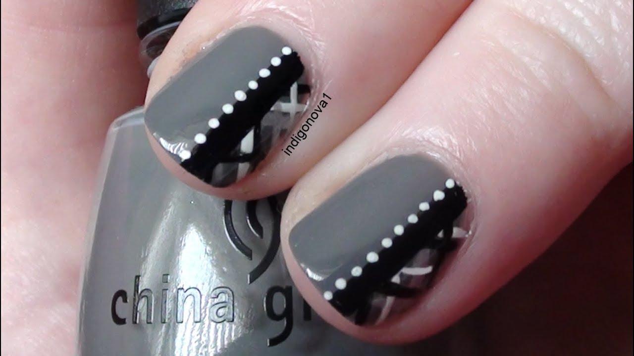 Chic Grey Plaid / Tartan Nail Art Tutorial