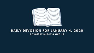 Daily Devotion for January 4, 2020