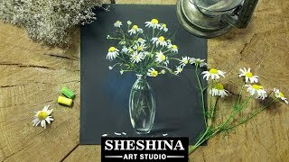 How to draw a bouquet of chamomiles in a glass vase with soft pastels 🎨 REAL TIME