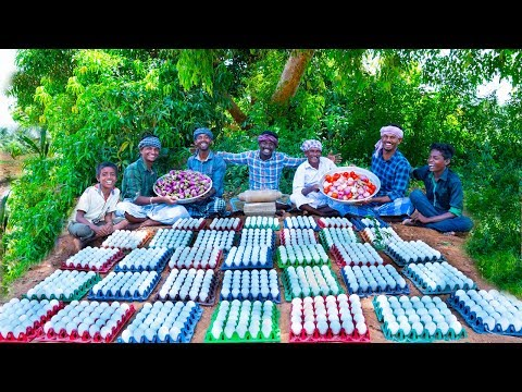 1000 EGGS with BRINJAL | Egg Brinjal Masala Cooking With 1000 eggs | Village Cooking Channel