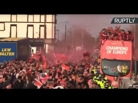 Liverpool hold Champions League parade as thousands of fans pack the streets