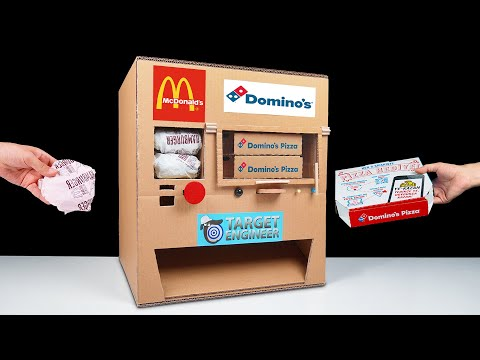 DIY How to Make Dominos Pizza and McDonald's Vending Machine from Cardboard