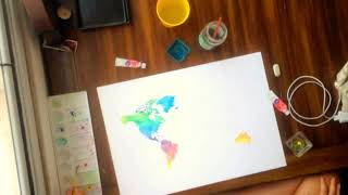 Speed Painting - World map watercolor / Mapa mundi em aquarela