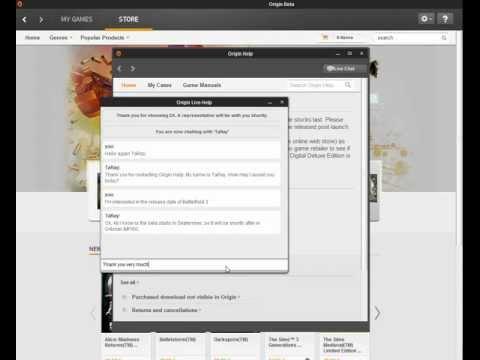 LivePerson Chat @EA's Origin Desktop Console