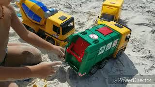 Bruder oyuncak beton mixer, çöp kamyonu ve DHL Kargo kamyonu tanitimi