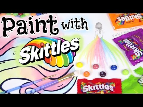 PAINTING WITH SKITTLES + Skittles Rainbow Trick - Candy Art Inspiration Watercolor Paint