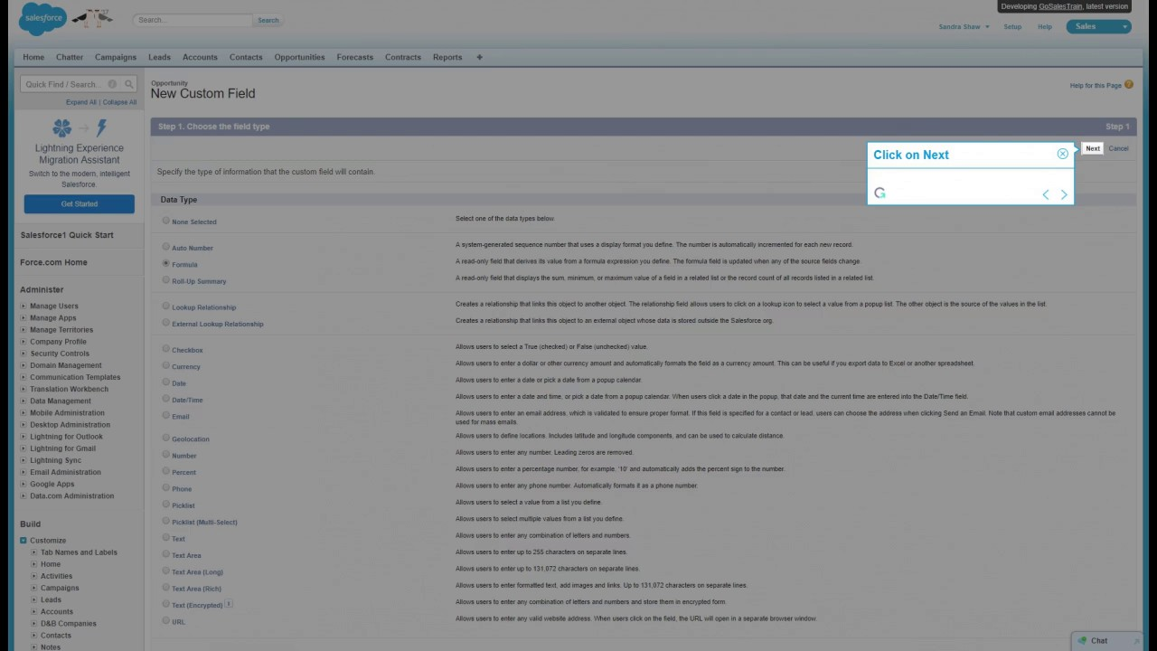 How to create a custom formula field, in opportunities page, for Salesforce  classic