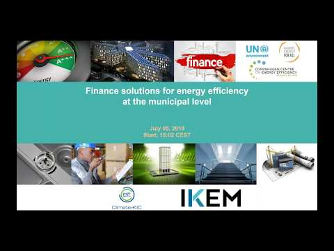 Webinar On Finance Solutions For Energy Efficiency At The Municipal Level