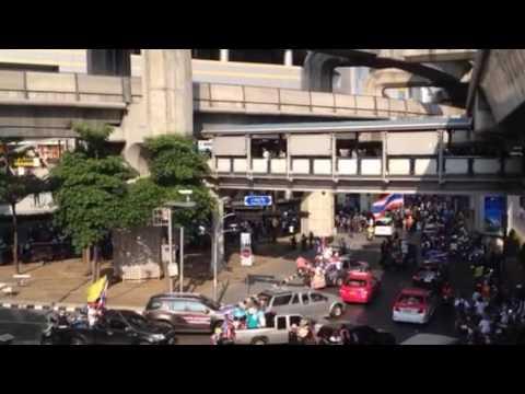 Protest near MBK shops Bangkok