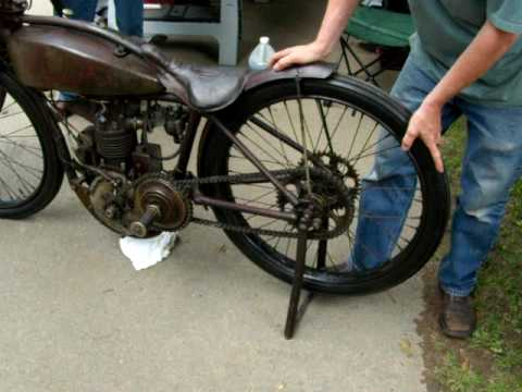 Hand Starting Of A 1926 Indian Flat Track Racer