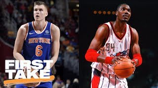Kristaps Porzingis breaks scoring record, compared to Hakeem Olajuwon | First Take | ESPN