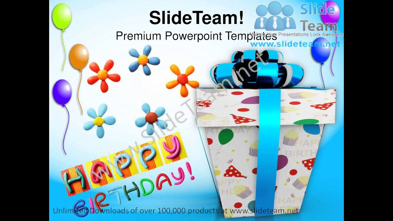 happy birthday gift balloons events powerpoint templates ppt, Powerpoint templates