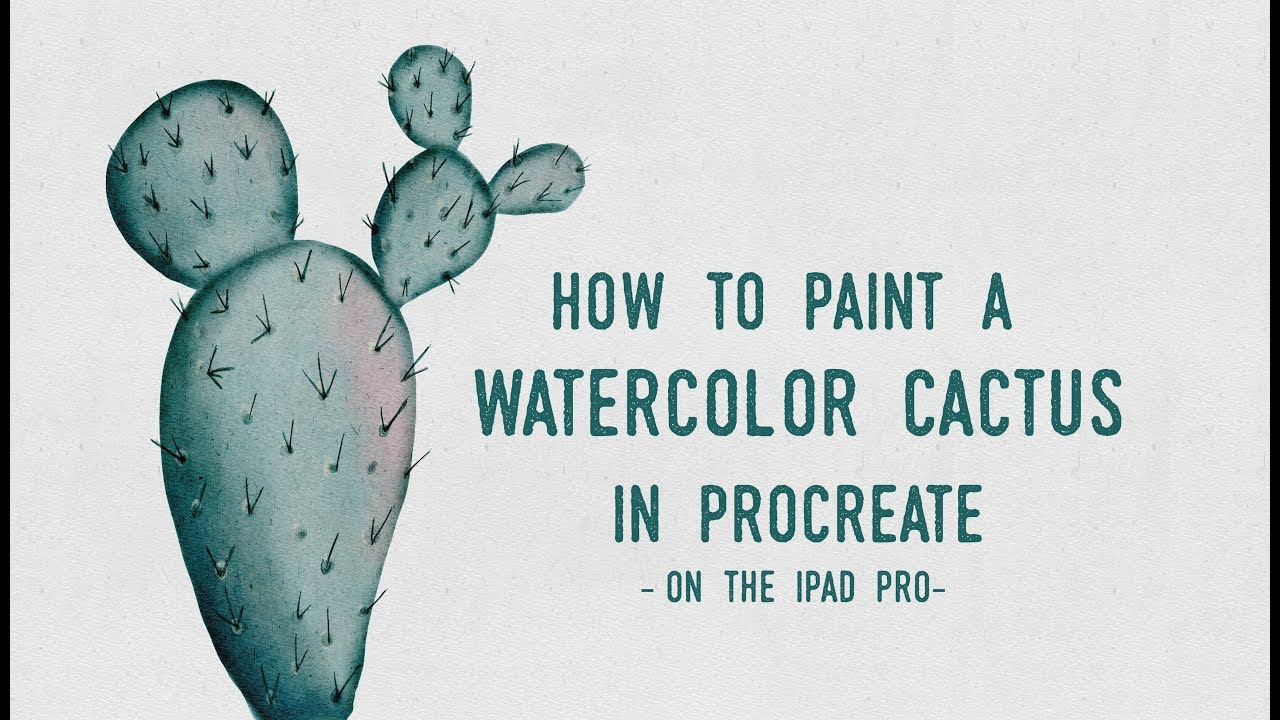 How to Paint A Watercolor Cactus in Procreate on the iPad Pro