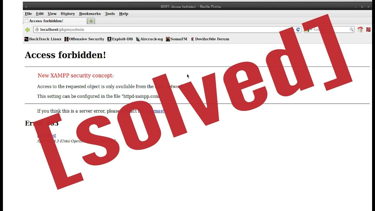 New Xampp Security Concept Access Forbidden Error 403 Youtube