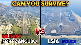 GTA 5 ONLINE : FORT ZANCUDO MILITARY VS LSIA POLICE (CAN YOU SURVIVE?)