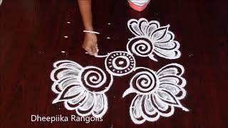 simple and easy lotus rangoli design with 6x6 dots *small friday kolam design *Apartment rangolis
