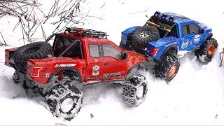 RED & BLUE Ford F150 RAPTORS - SNOW at the CREEK: 1/8 scale Cragsman | RC ADVENTURES