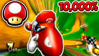 10,000% Tiny Tracks STRETCHED in Mario Kart Wii - Mushroom Cup