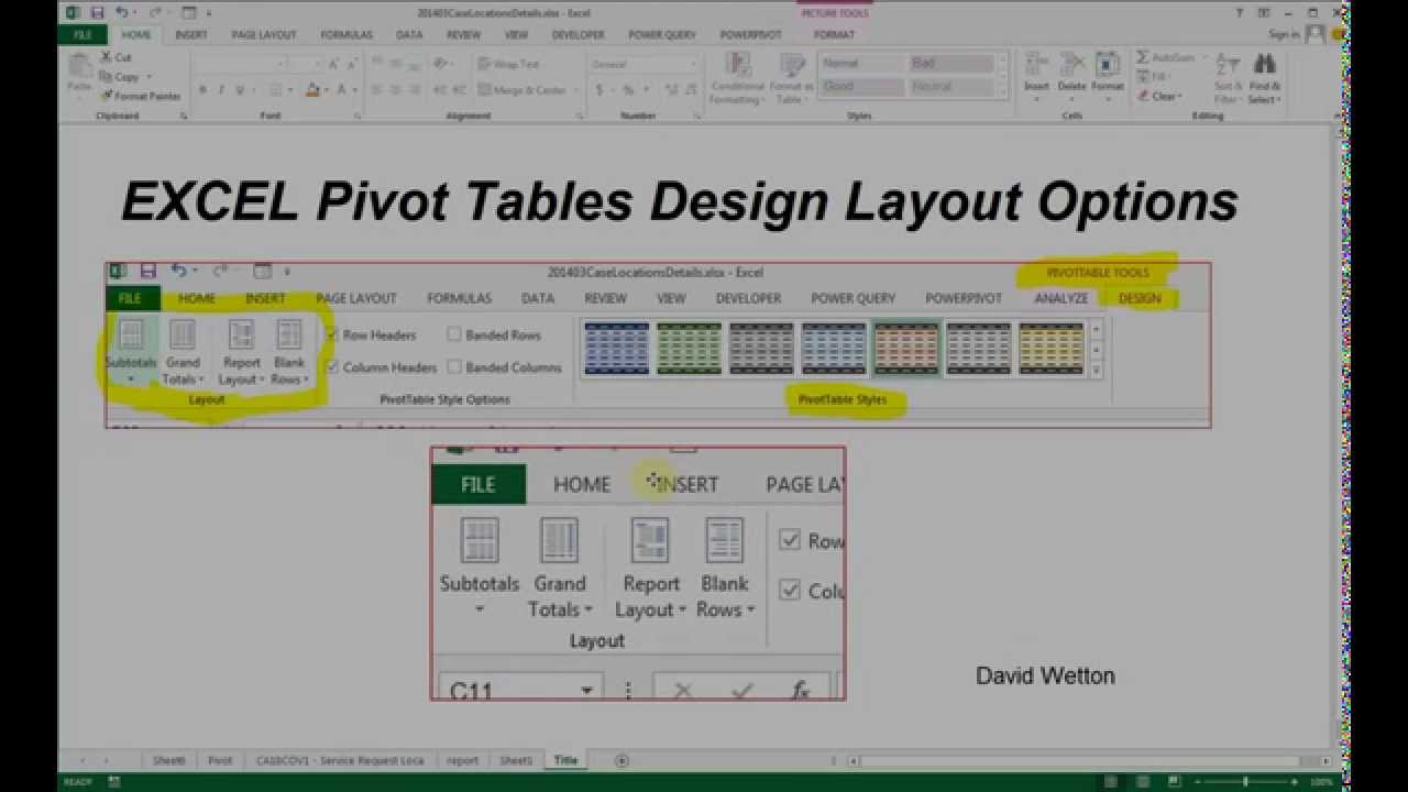 Excel pivot table design options youtube for Excel table design
