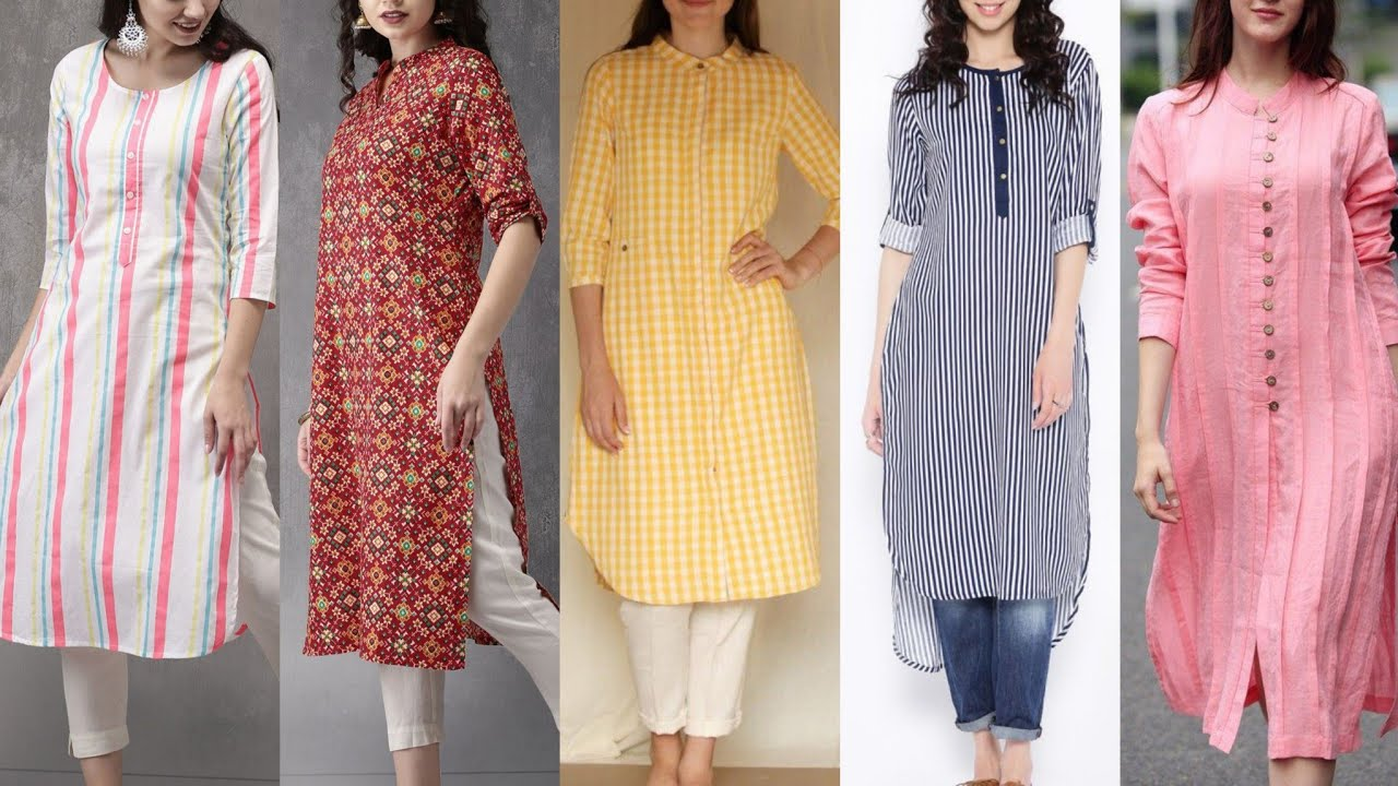 Beautiful Stylish Casual Long And Short Kurti Designing Idea's For Womens And Girls