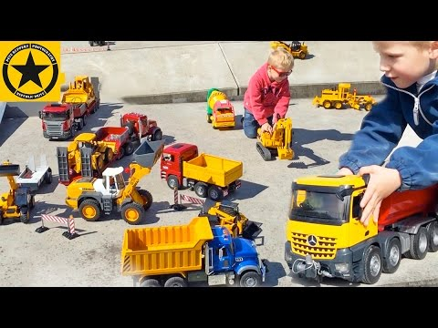 BRUDER TRUCKS best of Bruder TOYS KID playing BULLDOZER FAIL Excavator recovery