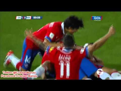 Chile 2 Brasil 0 (Radio Cooperativa)  Eliminatorias Rusia 2018 Los goles